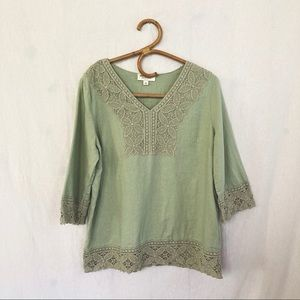 Green Linen Embroidered blouse